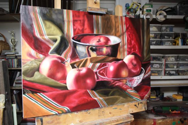 red apples still life painting
