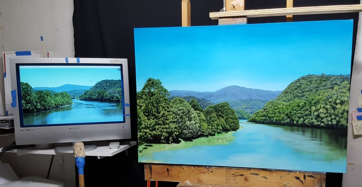 landscape painting of mountains and river