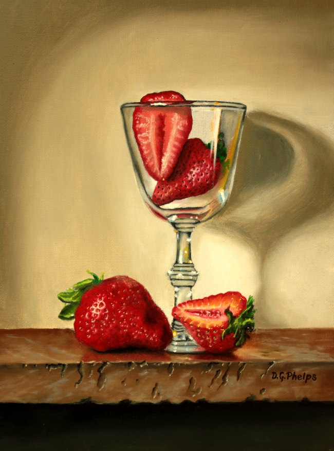 strawberries in glass painting