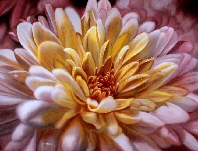 pink chrysanthemum art