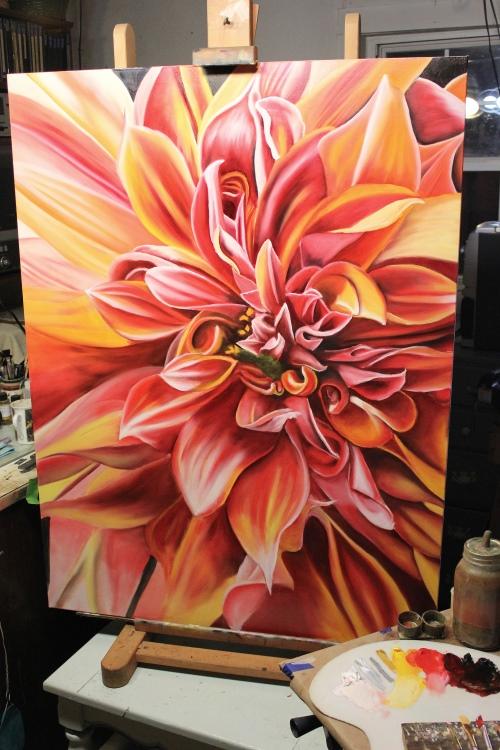 how to paint a dahlia