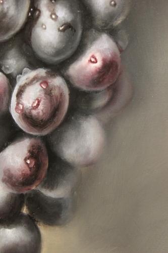 closeup of purple grapes painting