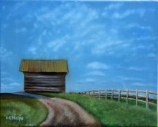 lonely tobacco barn painting