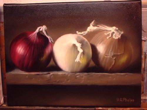 Still Life Onions,still life painting, oil painting