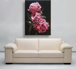 pink peony painting with sofa