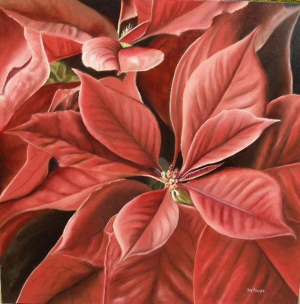 poinsettia oil painting