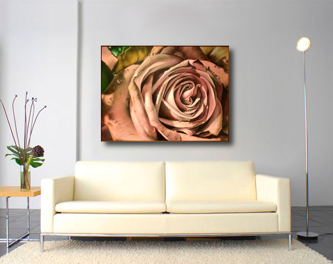 purple rose picture in room