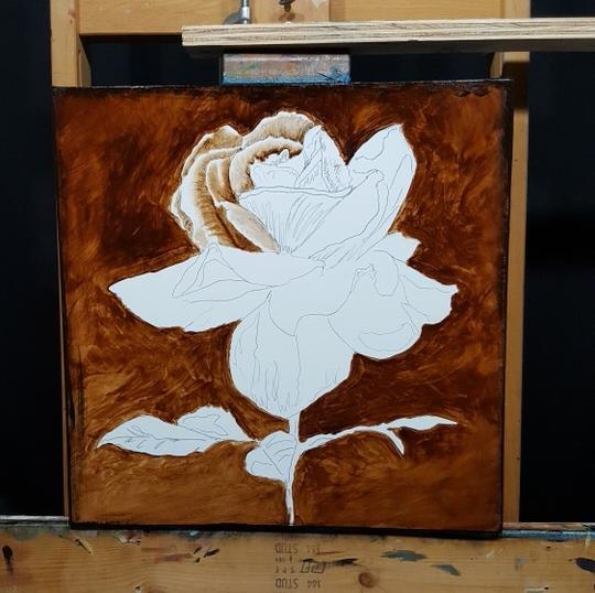 brown underpainting of rose