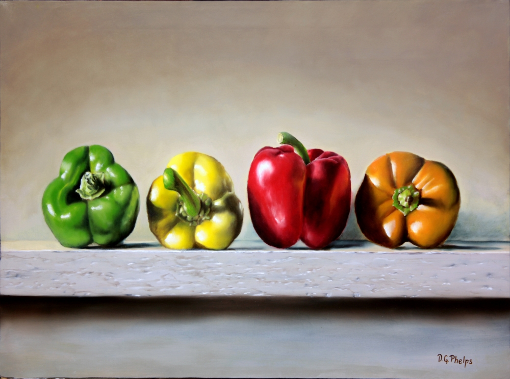 Stop Light Peppers oil painting