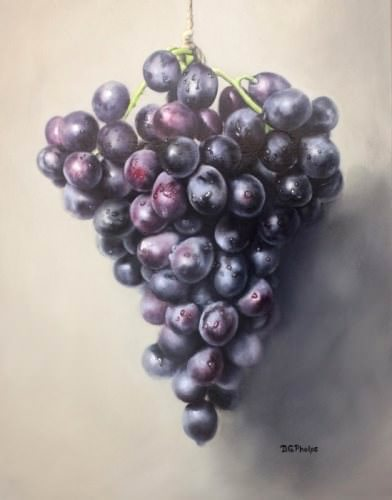hanging purple grapes oil painting