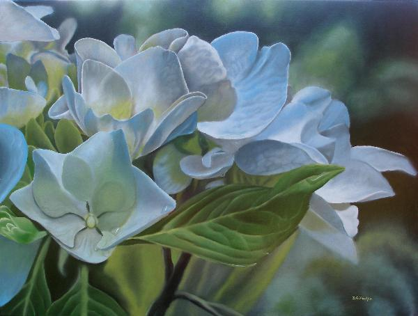 hydrangea painting, oil painting lessons
