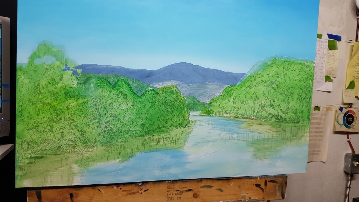 Blue Ridge Parkway blue sky painting