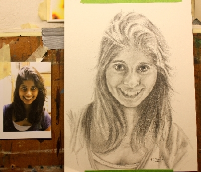 pencil drawing of an Indian Girl