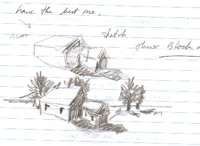 pencil sketch of houses