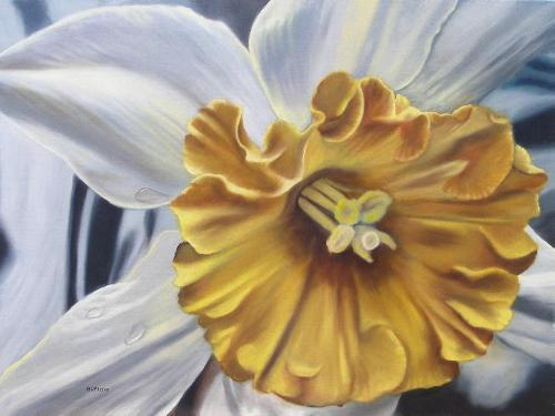 oil painting of a daffodil