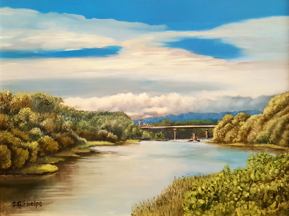 5th street bridge landscape painting