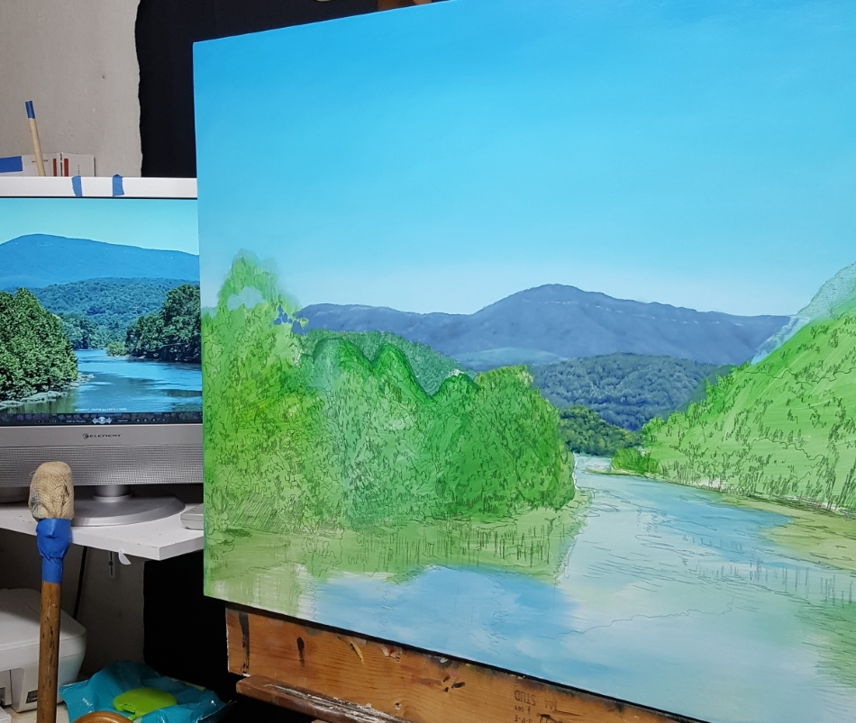 how to paint mountains, middle ground mountains being painted