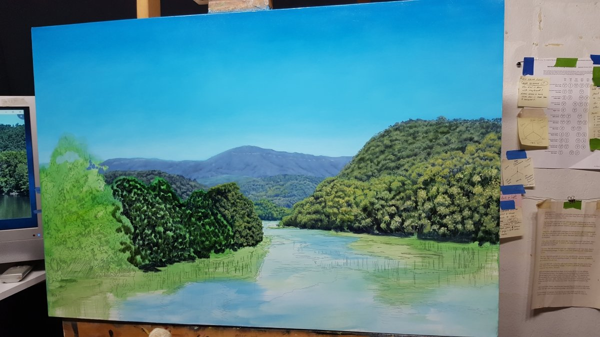 blue ridge parkway river scene painting