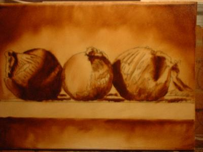 onion still life painting