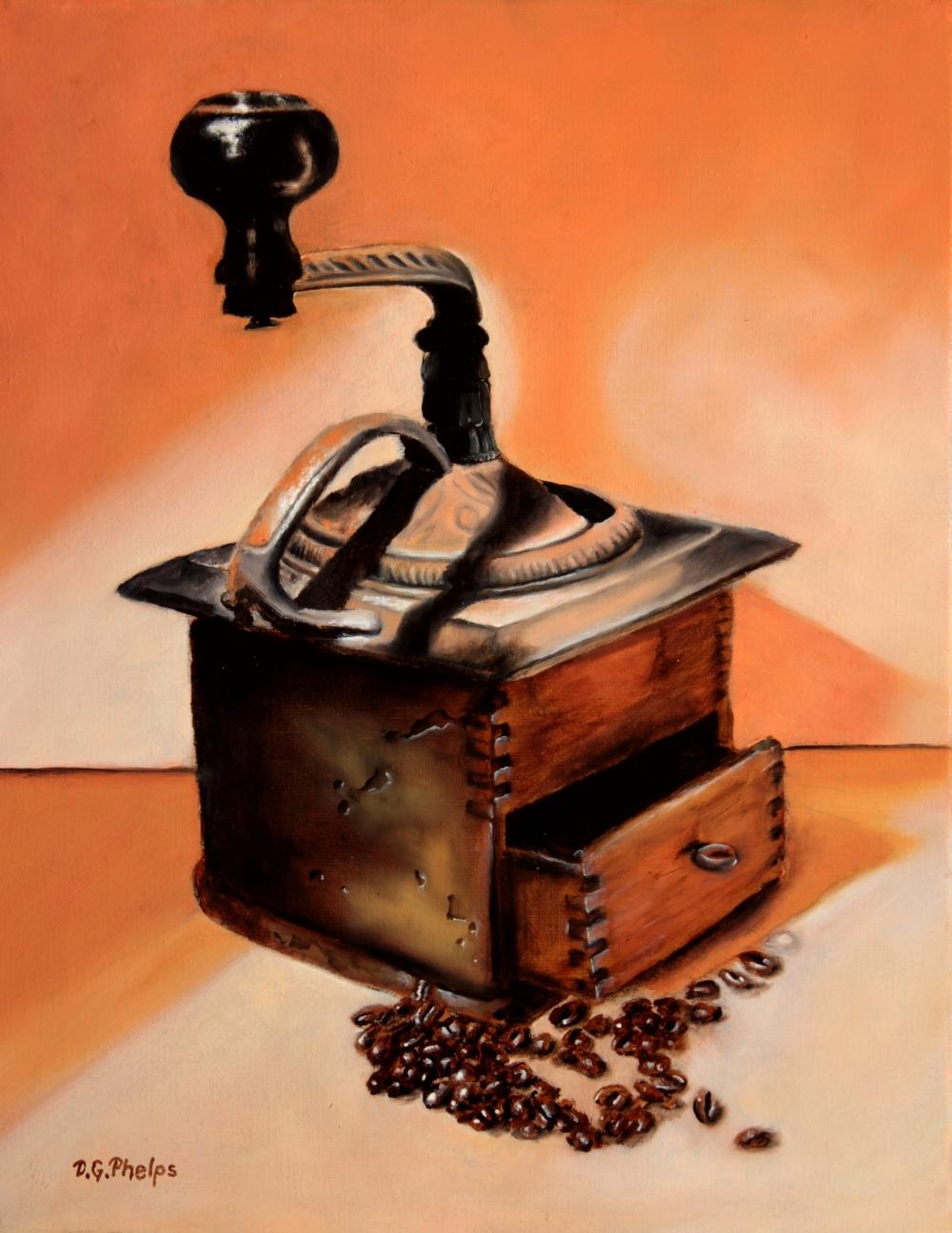 antique coffee grinder art