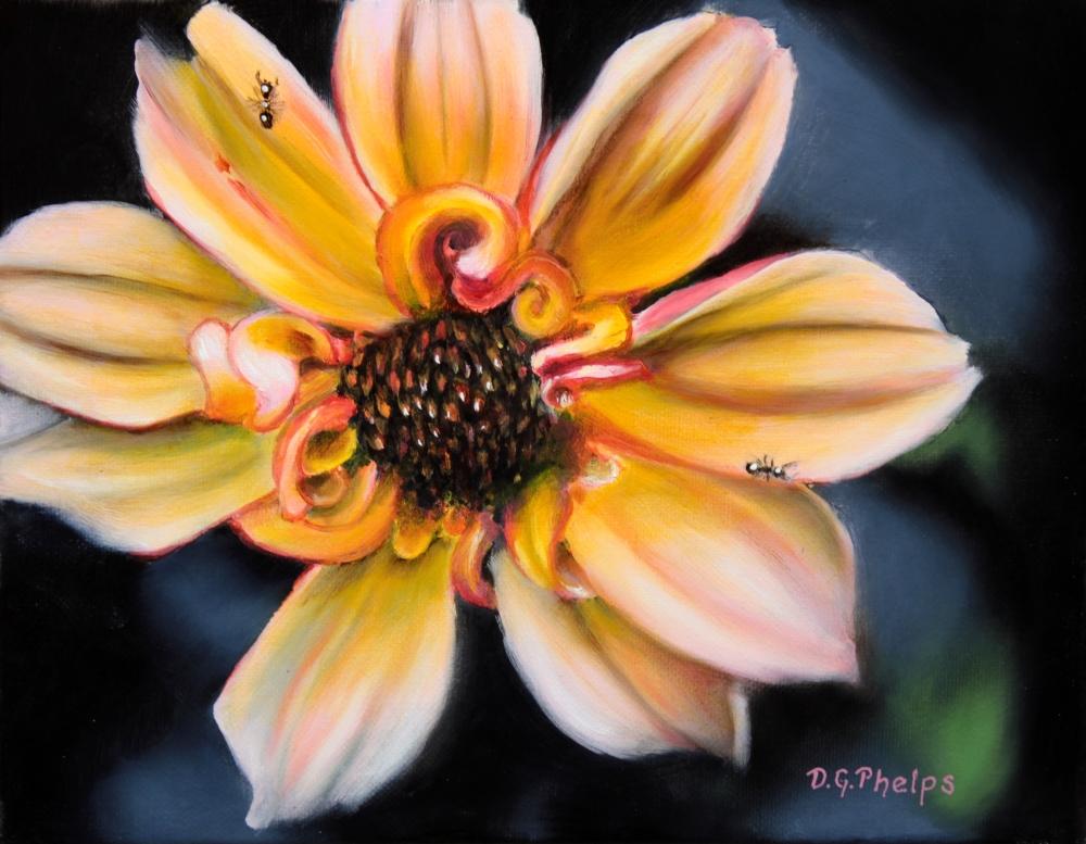golden dahlia art