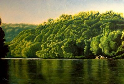 House boat on lake oil painting