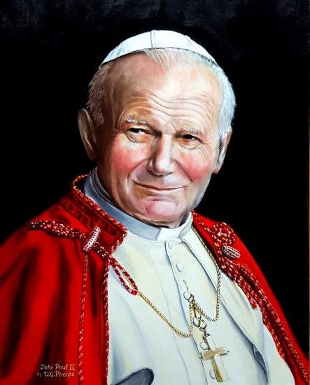 Saint Pope John Paul II portrait painting