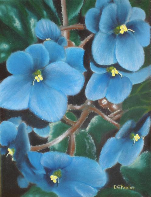 blue african violet oil painting by dgphelps