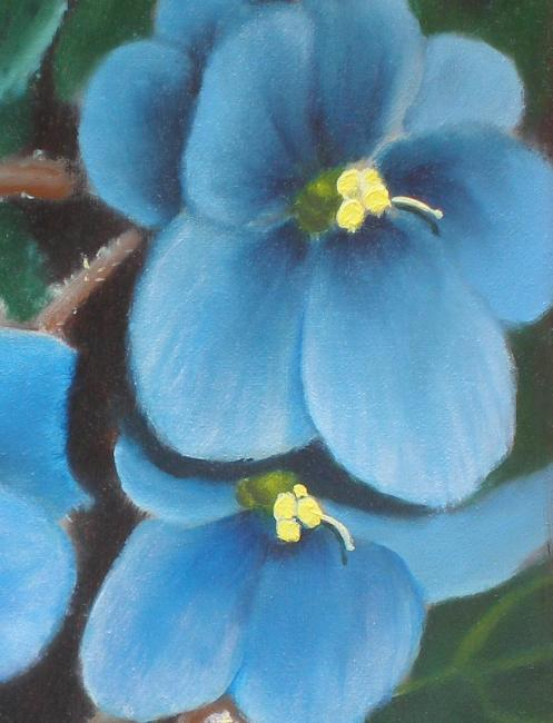 blue african violet painting