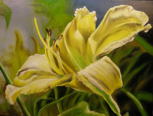 yellow lily oil painting, oil painting techniques