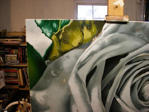 rose painting work in progress