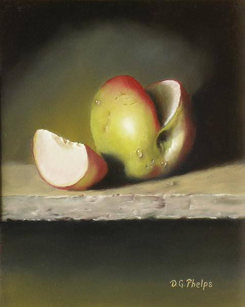 apple on granite shelf painting