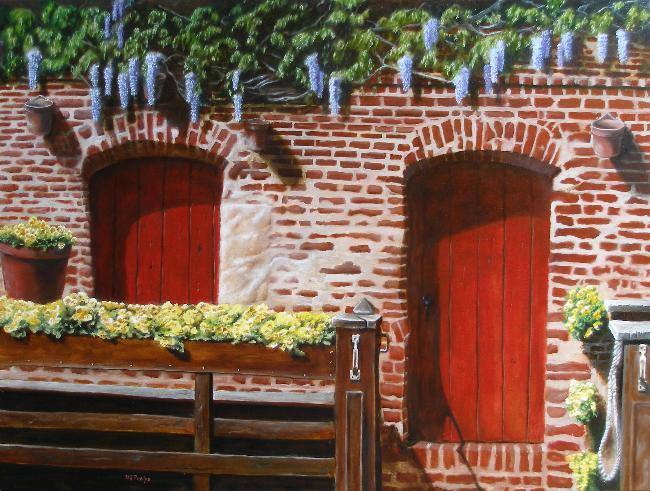 red door begonia oil painting