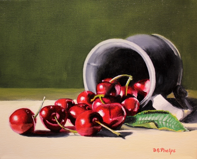 black cherries painting