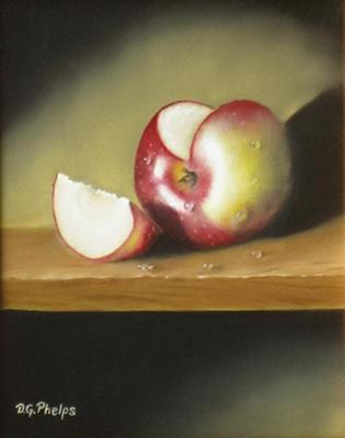 Apple Slice painting with wood example