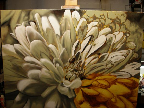 balck and white flower painting