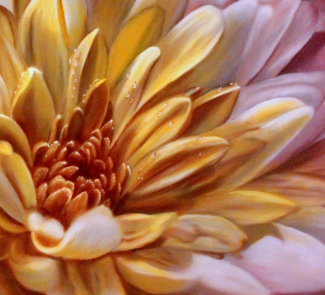 A modern chrysanthemum flower painting a very closeup for Painting large flowers in acrylic