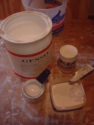 gesso thinning, preparing canvas