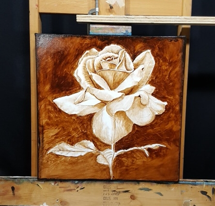 completed underpainting of rose