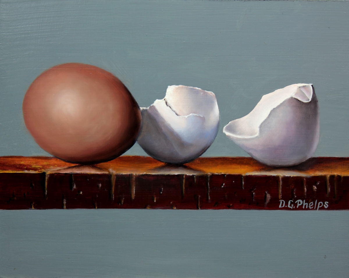 broken egg shells on shelf oil painting