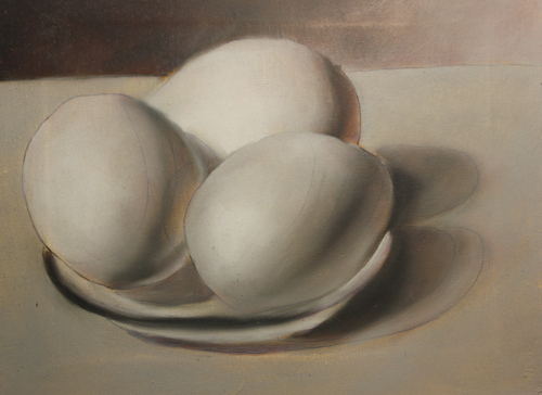 black and white painting of eggs