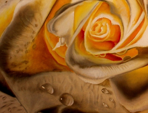 White rose painting bursting with colors for Easy oil painting tutorial