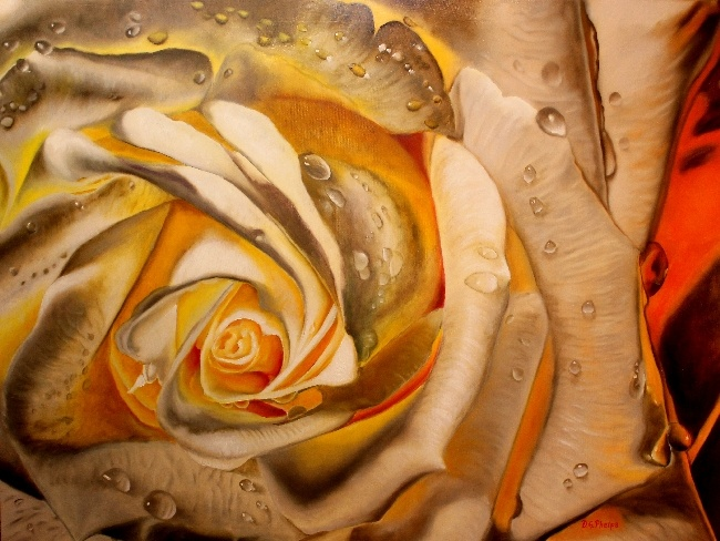 White and orange rose oil painting