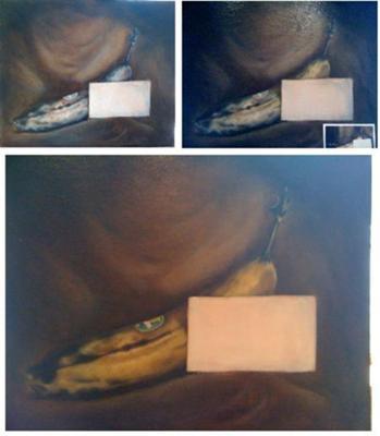 Free Banana, oil painting of a banana.