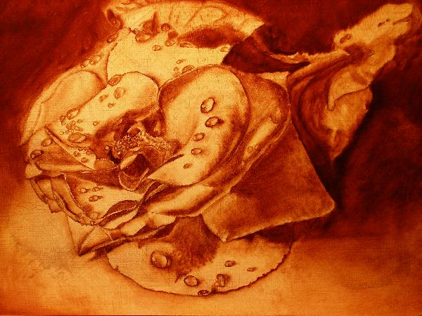 brown underpainting of rose blossom