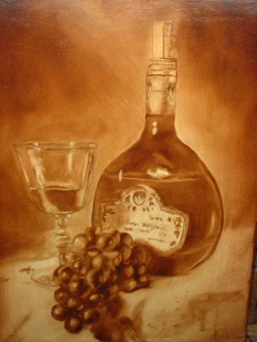 still life of wine bottle
