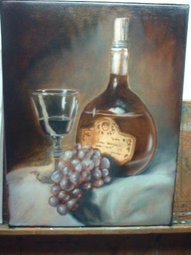 oil painting of grapes, wine glass