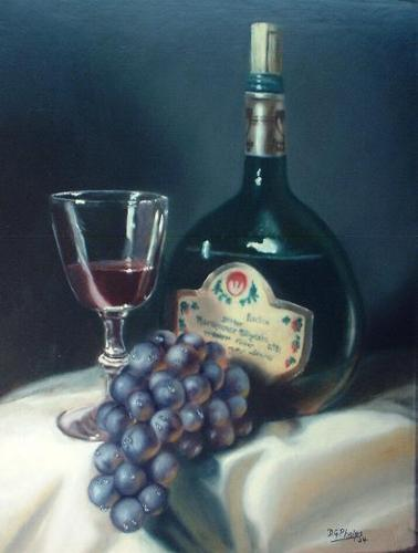 How to Paint Still Life Grapes, Wine bottle, and glass.