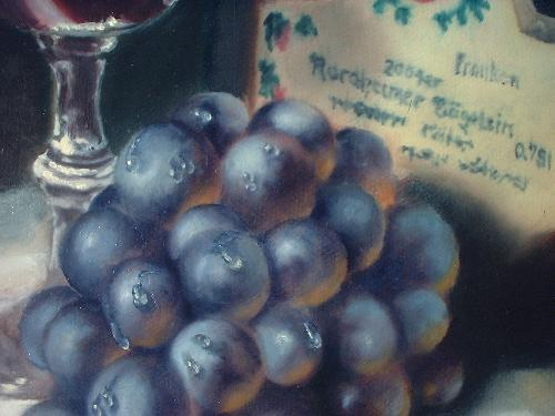 oil painting still life of grapes