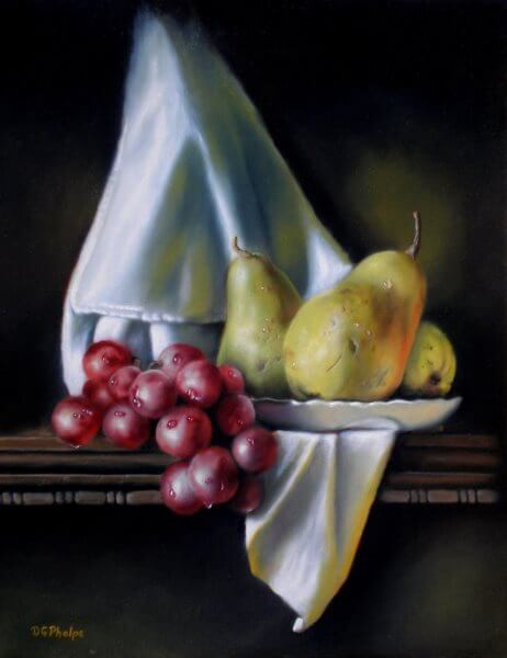 grapes with pears still life oil painting